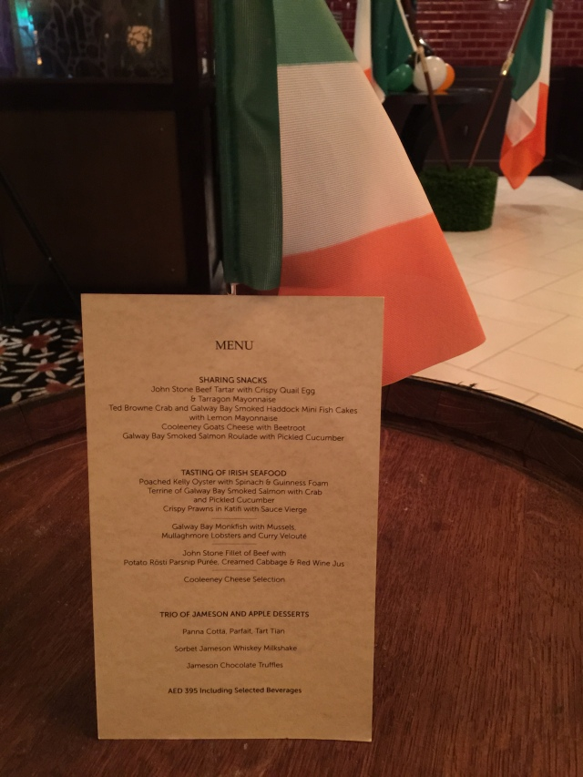 The menu on one of the evenings
