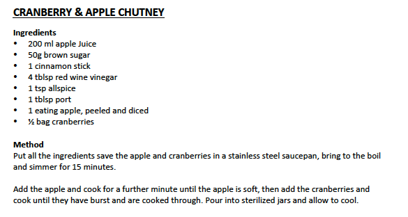 Cranberry and Apple Chutney - Lovely as a relish, with cheeses or with cold or hot meats.