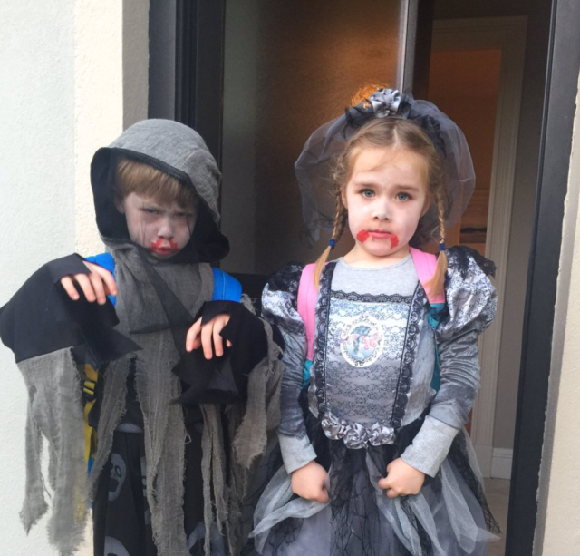 TWIN TERRORS... The Twins loved dressing for their Halloween party at school.