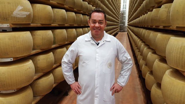 (41)Neven's Italian Food Trails programme two. Thursday October 12th. Neven visiting Parmesan producer Mulino Alimentare